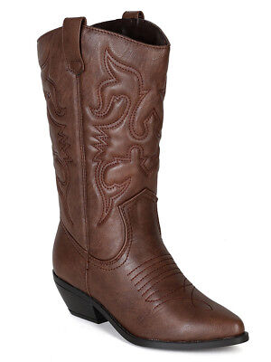 fc1530e76b9 Soda Women Cowgirl Cowboy Western Stitched Boots Pointy Toe Knee High Brown  RENO | eBay