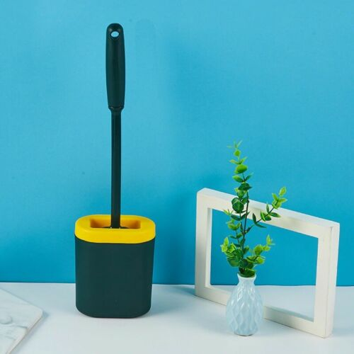 Wall Mounted Eco Friendly Silicon Brush with Holder Flat Clean Toilet Bathroom