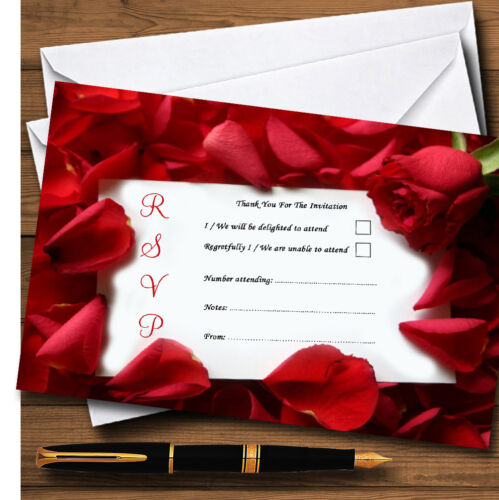 Red Rose Love Note Personalised RSVP Cards