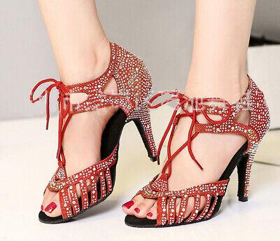 Women Suede Latin Salsa Ballroom Dance Shoes 6-10CM High Heels All Size