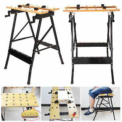 FOLDABLE WORKBENCH PORTABLE WOOD BENCH WORK CLAMPING FOLDING WORKTOP TABLE NEW