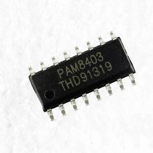 5PCS SMD PAM8403 3W * 2 Stereo filterless Class D Audio Amplifier SOP-16