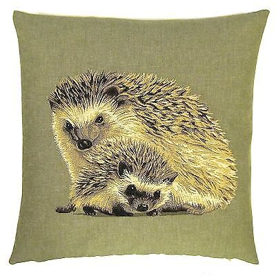 """FOREST ANIMALS OWL SQUIRREL HEDGEHOG HARE TAPESTRY CUSHION COVERS 18/"""" x 18/"""""""
