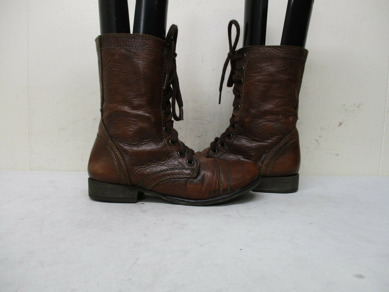 Steve Madden Troopa Mahogany Leather Zip Lace Military Fashion Boots Size 5 M