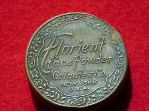 VINTAGE-AD-FLORIENT-FACE-POWDER-COLGATE-CO-NEW-YORK-USA-TIN