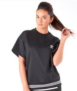 Adidas-Originales-Por-hyke-para-mujeres-Damas-Mangas-Cortas-Jersey-Top-Negro-BNWT-V-Raro