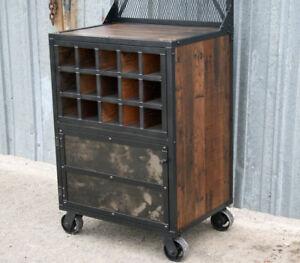 Reclaimed Wood Bar Cart Wine Bottle