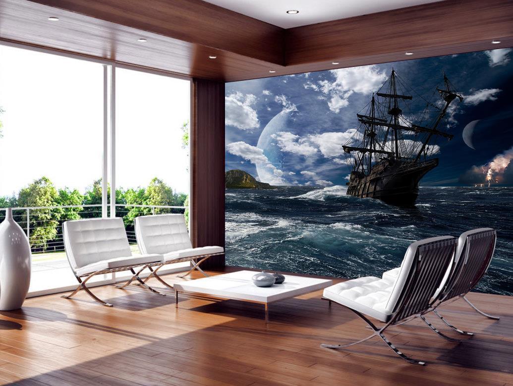 Pirate Ship Photo Wallpaper Woven Self-Adhesive Wall Mural Art Decal M215