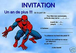 5 or 12 birthday invitation cards spiderman ref 282 ebay image is loading 5 or 12 birthday invitation cards spiderman ref stopboris Choice Image