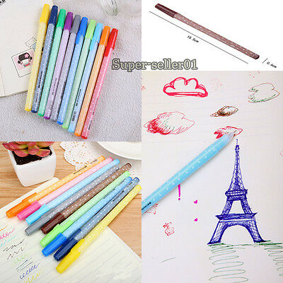 12PCS sparkling candy color ballpoint gel ink pen 0.5mm children gift stationery