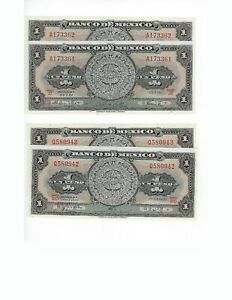 MEXICO-1-PESO-ASTEC-CALENDAR-TWO-PCS-1961-AND-TWO-PCS-1970-TOTAL-4-PCS-UNC