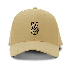 Image Is Loading Hand Peace Sign Embroidery Embroidered Adjule Hat Baseball