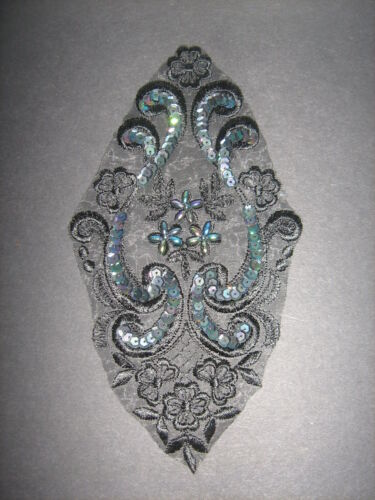 Black Beaded Sequin Embroidered  Applique Sewing//Costume//Crafts//Victorian//Bridal