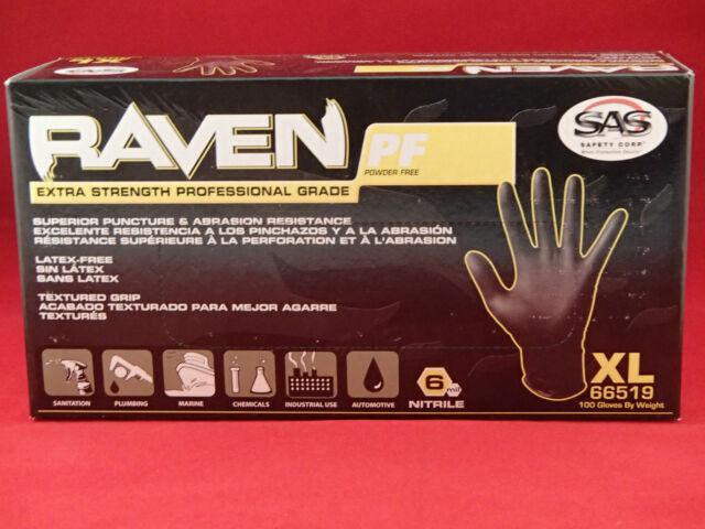 SAS Safety 66519 Raven Powder-Free Disposable Black Nitrile 6 Mil Gloves, XL