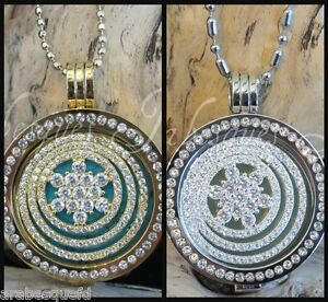 2-LARGE-COIN-MONEDA-SPARKLING-CRYSTAL-FOR-MI-MILANO-NECKLACE-PENDANT-CARRIER