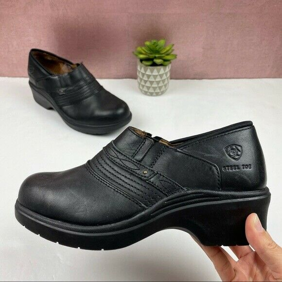Ariat Black Steel Toe Leather Clog Shoes Women Size 8.5
