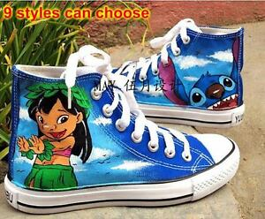 532ef7307e01b Details about Lilo and Stitch Pattern Women Men Hand-painted Canvas Shoes  Boy Girl's Sneaker