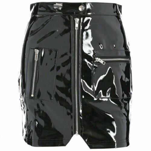 Details about  /Summer Black Pink Fashion Women's Leather Short Mini Pencil Skirt Zip Shiny Punk