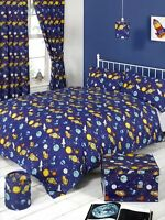 CHILDREN BOYS SINGLE BED BEDDING QUILT /DUVET COVER SET BLUE SPACEMAN PLANETS