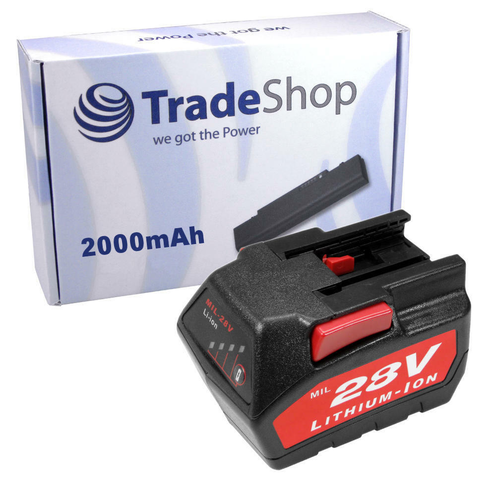 AKKU 28V 2000mAh Li-Ion Battery für AEG Milwaukee V28VC 0719-22 V28 0721-21 28V