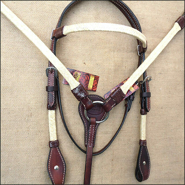 USET Hilason Rawhide Braided American Leather Horse Headstall Breast Collar
