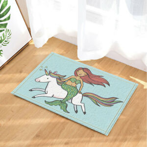 Cute Mermaid Girl And Unicorn Bath Rug Non Slip Floor Indoor Door