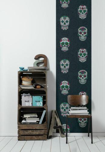 Selbstklebende Tapete Totenkopf schwarz bunt Panel 368281 15,35€//1qm