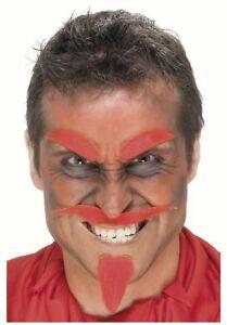 Devil Black Set Tash Beard Eyebrows Stick On Facial Hair fancy dress Halloween