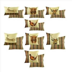 Hand-Painted-Animals-Hunter-Filled-Cushion-RED-BROWN-Reversible-animal-cushi