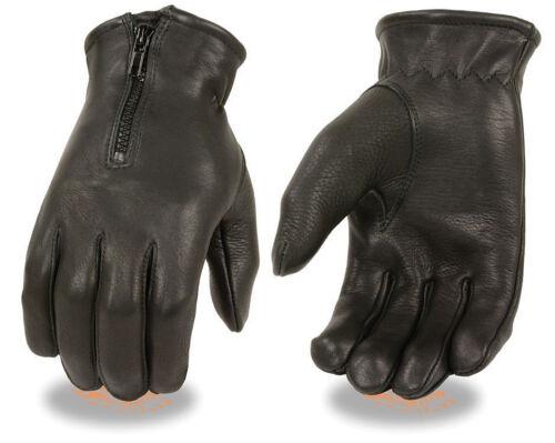 Black DEERSKIN Zipper Leather Driving Gloves Military Police Motorcycle Biker