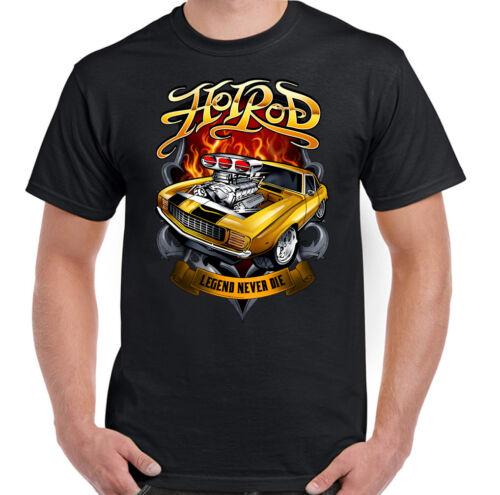 Legend Never Die Mens Hot Rod T-Shirt Classic Car Enthusiast Engine Parts Design