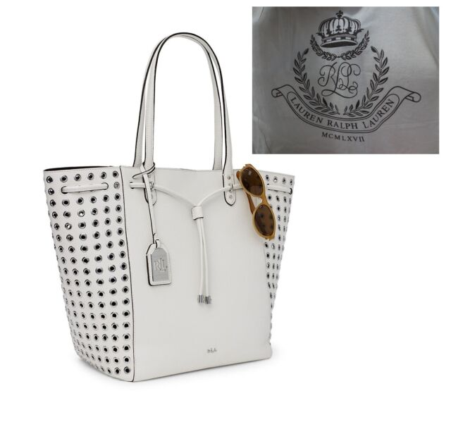248a273e13 Ralph Lauren Leather Oxford Rivet White Large Tote Bag for sale ...