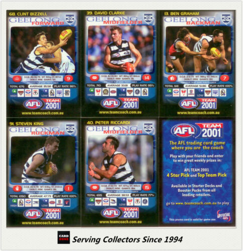 2001 Teamcoach Trading Cards Promotion Team Set Geelong 6