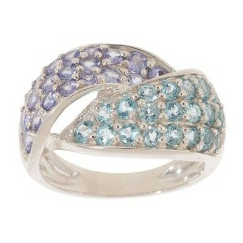 QVC Ring  Apatite /& Tanzanite Sterling 2.25 cttw Swirl Size 6