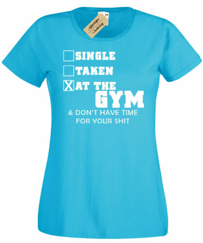 Womens Single Taken At Gym Funny Cute Workout Gym Tee Muscle T Shirt ladies