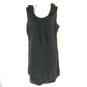 Sanctuary-Shift-Dress-Lace-Ruffle-Sleeveless-Mini-Black-Size-L