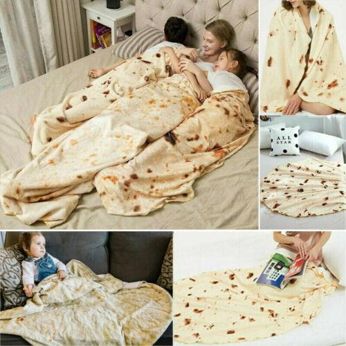 Round Tortilla Burrito Blanket Texture Bedspread Soft Carpet Mat Throw Rugs