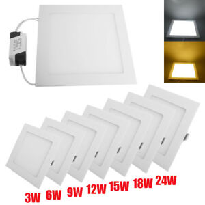 1-5-10-20X-3-24W-Panel-LED-Recessed-Ceiling-Downlight-Fixture-Square-Bulbs-Lamp
