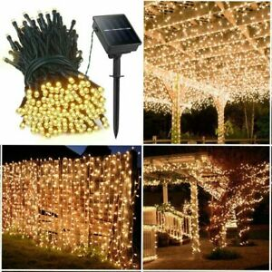 cheap for discount d2762 282fc Details about 39ft 100 LED Solar Powered Outdoor String Lights Bright White  Christmas Party