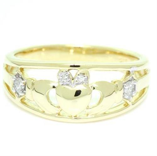 Claddagh Diamond 9K 9ct 375 Solid gold Celtic Irish Quality Ring Genuine Real