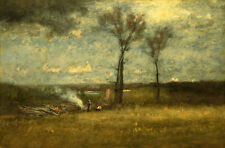 Oil painting george inness - Brush Burning farmers in landscape free shipping @@