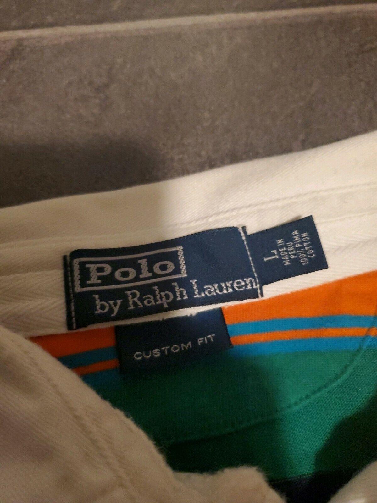 VTG 90'S POLO RALPH LAUREN COLOR BLOCK L/S RUGBY … - image 2