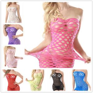 Sexy-Women-Lingerie-Babydoll-Nightwear-Fishnet-Body-stocking-Mini-Dress-Bodysuit