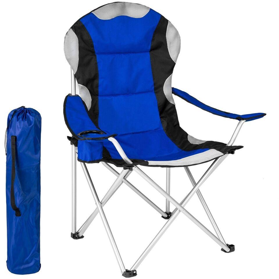 Polstret campingstol blå