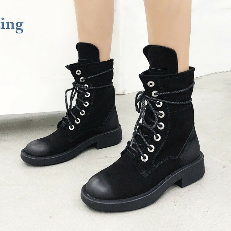 Womens Combat Army Military Worker Lace Up Flat Biker Vintage Ankle Boots shoes
