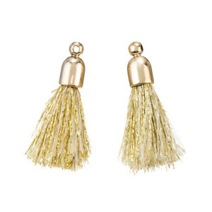 20mm Cotton Tassel Charms /& Gold Plated Cap Beige Pack of 2 K71//2