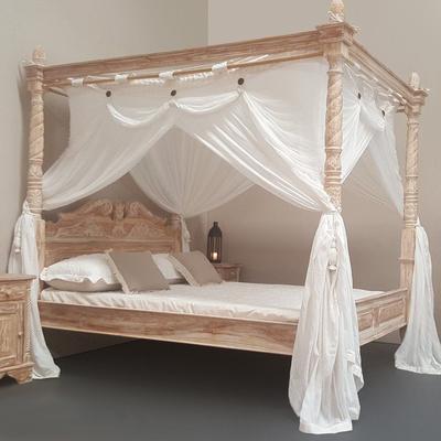 Four Poster Bed Hand Carved Whitewash Turned Posts Balinese Bedroom Teak - King