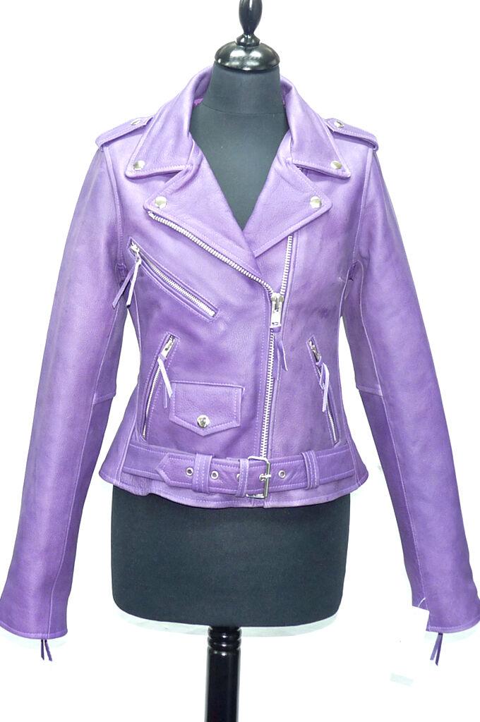 Ladies ANGEL Purple Washed Lambskin Designer Zipped Rock Real Leather Jacket