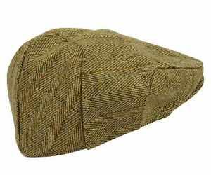 Tweed-Flat-Cap-Wool-Mens-Derby-Shooting-Hat-Teflon-Coated-Hunting-Fishing-New