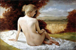 LMOP668  hand painted fine landscape&naked girl portrait art oil painting canvas